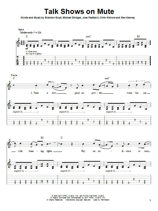 Incubus Talk Shows On Mute sheet music notes and chords. Download Printable PDF.