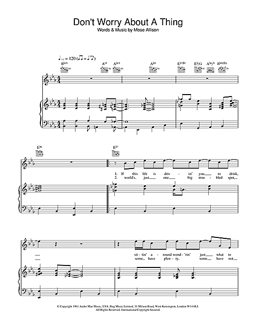 Van Morrison Don't Worry About A Thing sheet music notes and chords. Download Printable PDF.