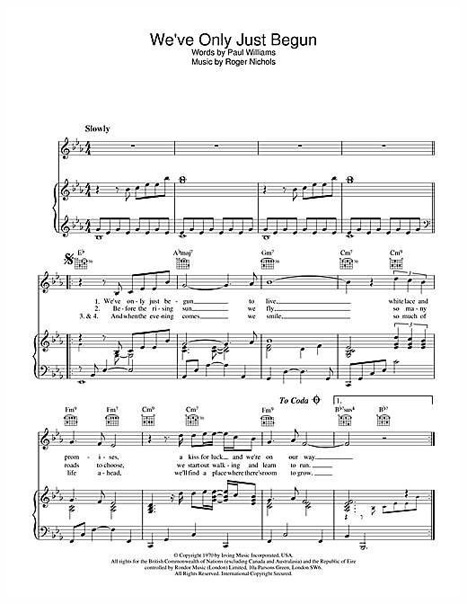 The Carpenters We've Only Just Begun sheet music notes and chords. Download Printable PDF.