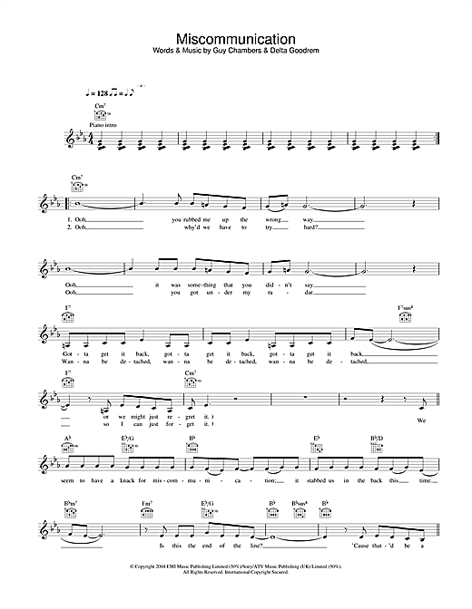 Delta Goodrem Miscommunication sheet music notes and chords. Download Printable PDF.
