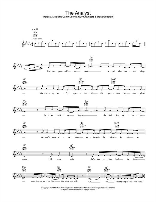 Delta Goodrem The Analyst sheet music notes and chords. Download Printable PDF.