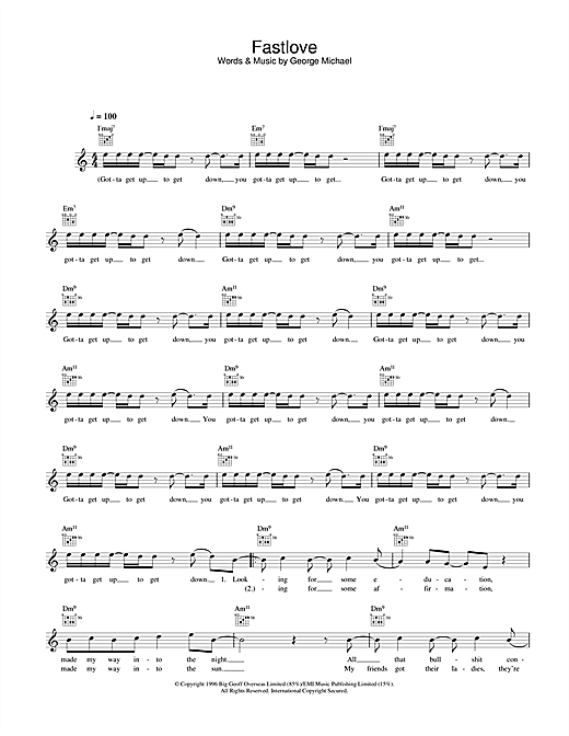 George Michael Fastlove sheet music notes and chords. Download Printable PDF.