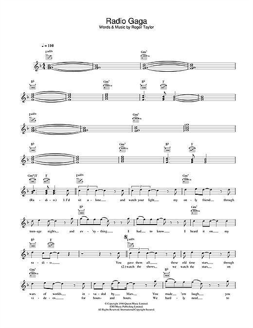 Queen Radio Gaga sheet music notes and chords. Download Printable PDF.