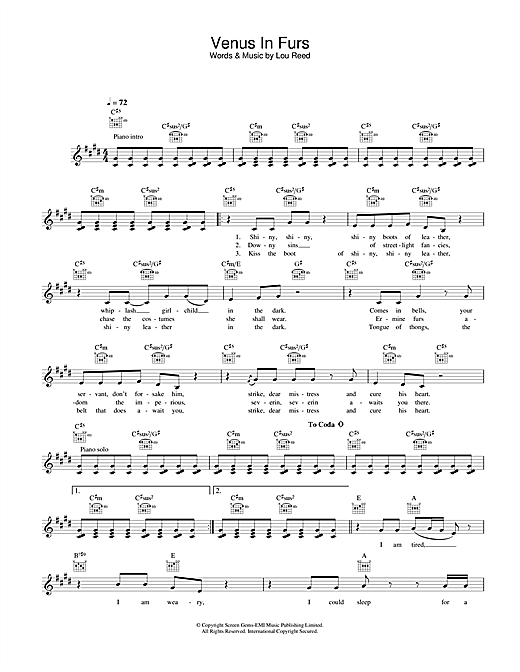 The Velvet Underground Venus In Furs sheet music notes and chords. Download Printable PDF.