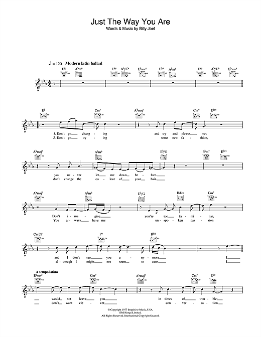 Diana Krall Just The Way You Are sheet music notes and chords. Download Printable PDF.
