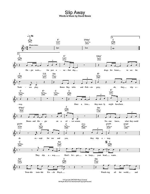 David Bowie Slip Away sheet music notes and chords. Download Printable PDF.