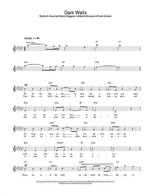 Hayley Westenra Dark Waltz sheet music notes and chords. Download Printable PDF.