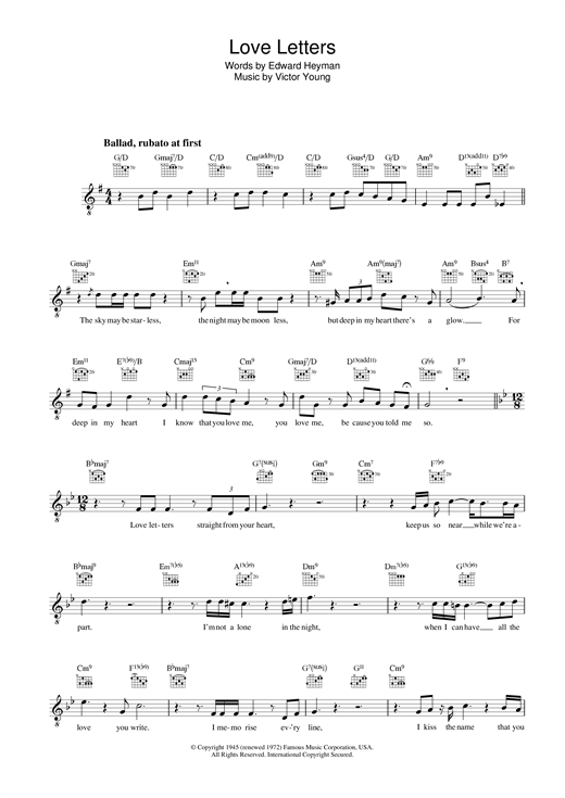 Diana Krall Love Letters sheet music notes and chords. Download Printable PDF.