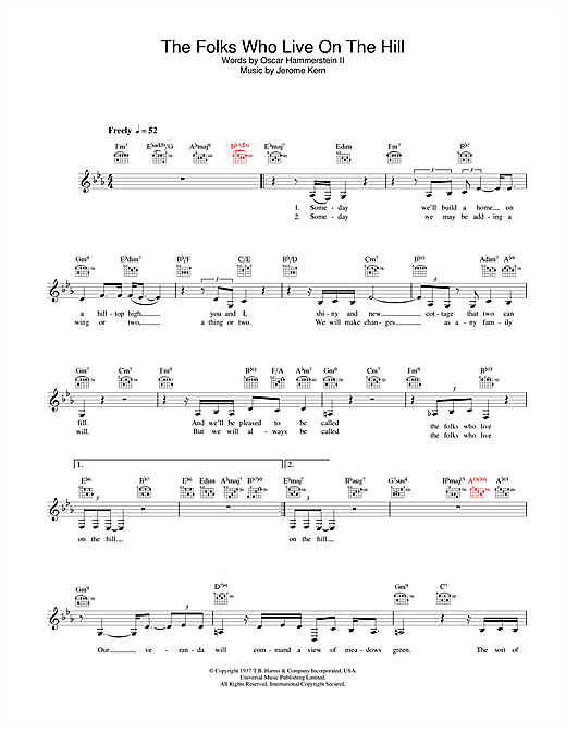 Diana Krall The Folks Who Live On The Hill sheet music notes and chords. Download Printable PDF.