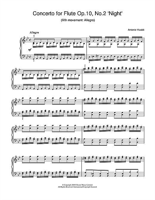 Antonio Vivaldi Concerto for Flute Op.10, No.2 'Night' (5th Movement: Allegro) sheet music notes and chords. Download Printable PDF.
