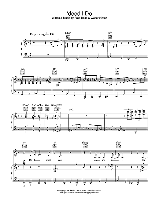 Diana Krall 'Deed I Do sheet music notes and chords. Download Printable PDF.