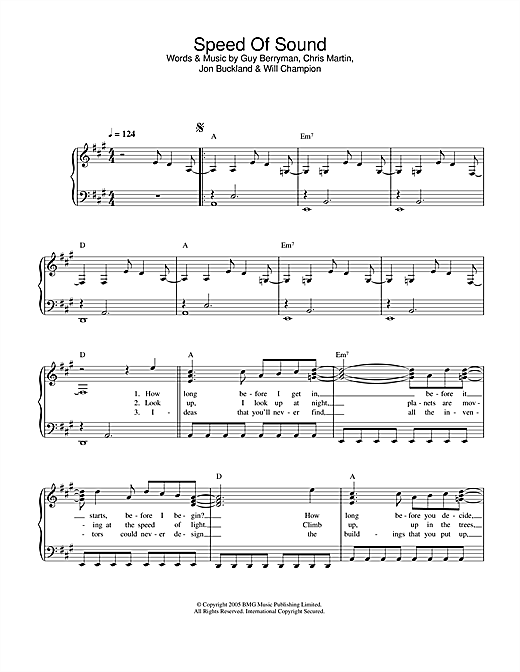 Coldplay Speed Of Sound sheet music notes and chords. Download Printable PDF.