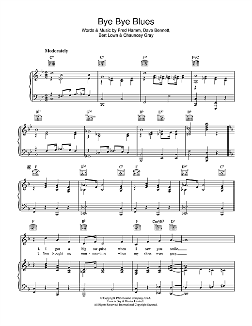 Fred Hamm Bye Bye Blues Sheet Music Notes Chords Download Printable Piano Vocal Guitar Right Hand Melody Sku 36257