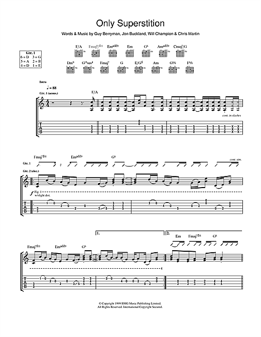 Coldplay Only Superstition sheet music notes and chords. Download Printable PDF.