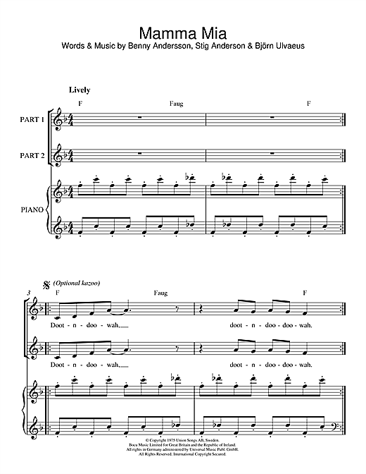 Abba Mamma Mia Sheet Music Notes Chords Download Printable 2 Part Choir Sku 46732