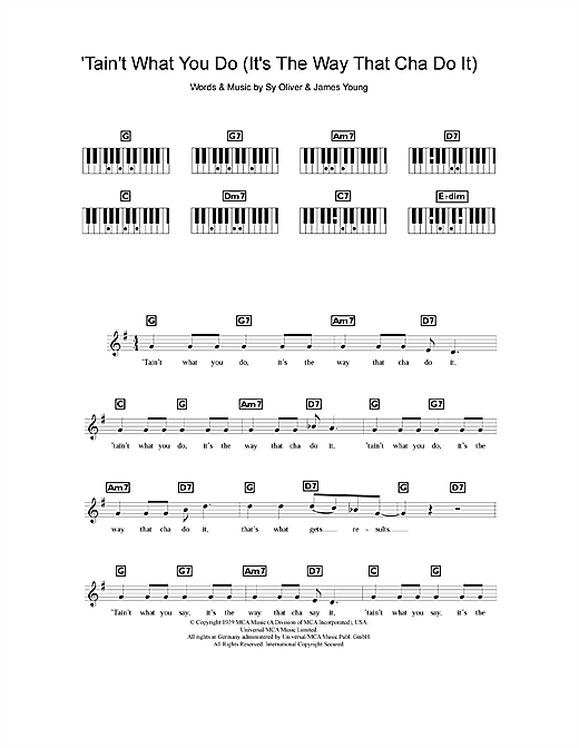 Ella Fitzgerald 'Tain't What You Do (It's The Way That Cha Do It) sheet music notes and chords. Download Printable PDF.