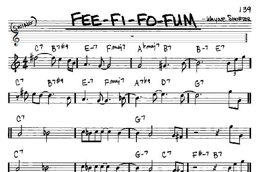 Wayne Shorter Fee-Fi-Fo-Fum sheet music notes and chords. Download Printable PDF.