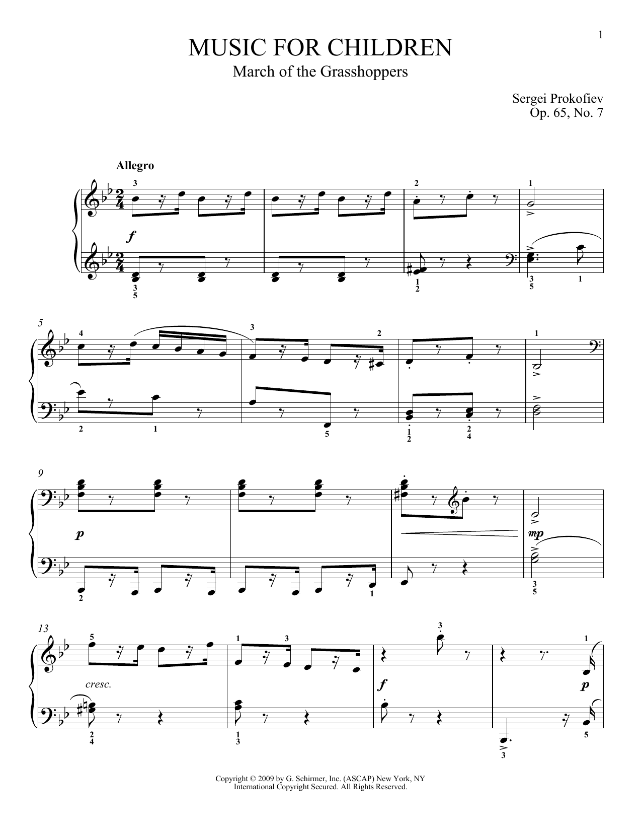 Sergei Prokofiev March Of The Grasshoppers sheet music notes and chords. Download Printable PDF.
