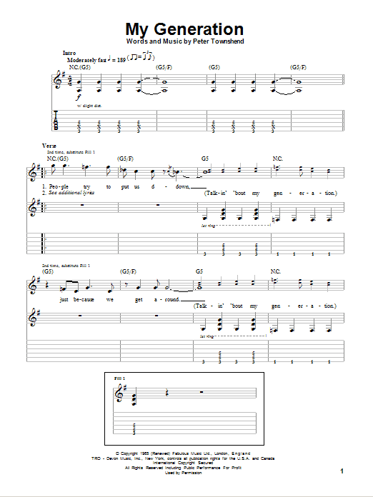 The Who My Generation sheet music notes and chords. Download Printable PDF.