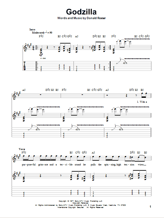 Blue Oyster Cult Godzilla sheet music notes and chords. Download Printable PDF.