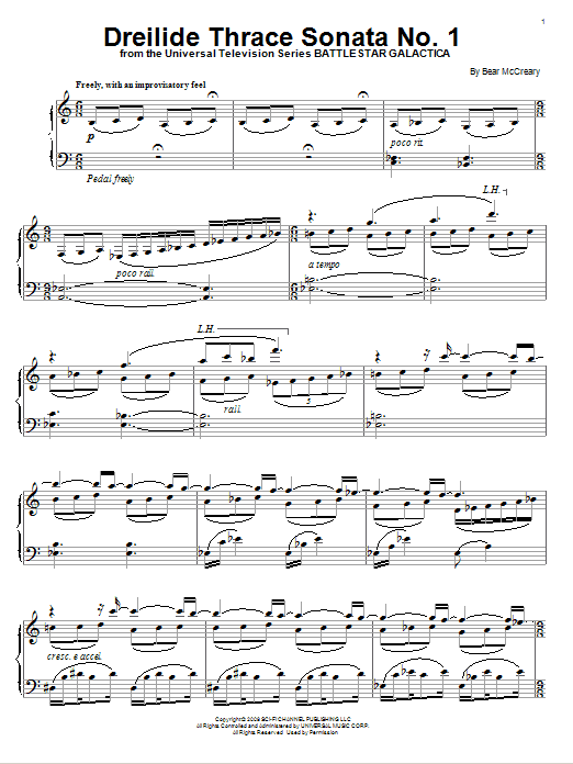 Bear McCreary Dreilide Thrace Sonata No. 1 sheet music notes and chords. Download Printable PDF.