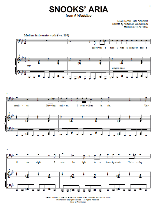 William Bolcom Snooks' Aria sheet music notes and chords. Download Printable PDF.