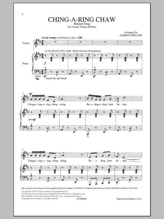 Aaron Copland Ching-A-Ring Chaw sheet music notes and chords. Download Printable PDF.