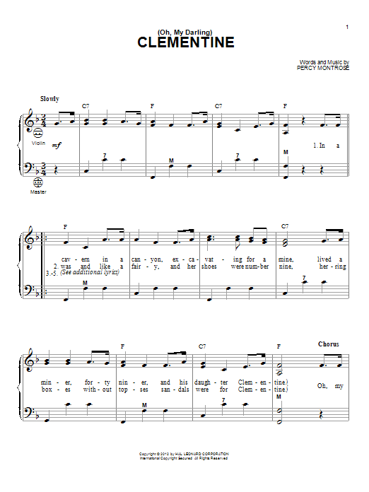 Gary Meisner (Oh, My Darling) Clementine sheet music notes and chords. Download Printable PDF.