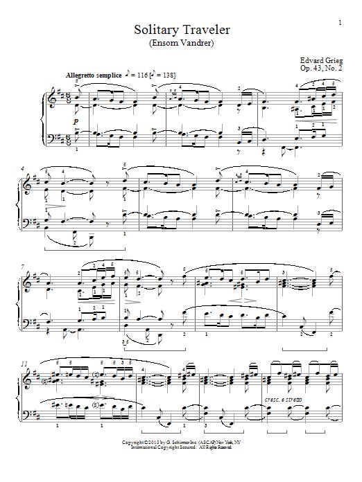 William Westney Solitary Traveler (Ensom Vandrer), Op. 43, No. 2 sheet music notes and chords. Download Printable PDF.