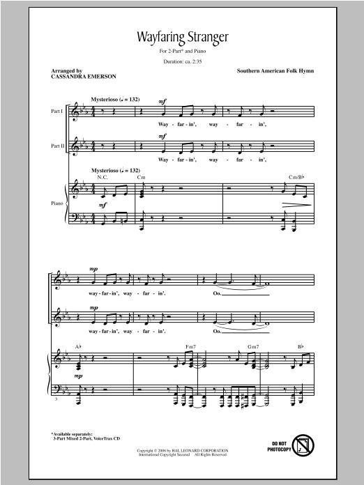 Download or print Traditional Wayfaring Stranger (arr. Cassandra Emerson) Sheet Music Printable PDF -page score for Concert / arranged 2-Part Choir SKU: 98204.