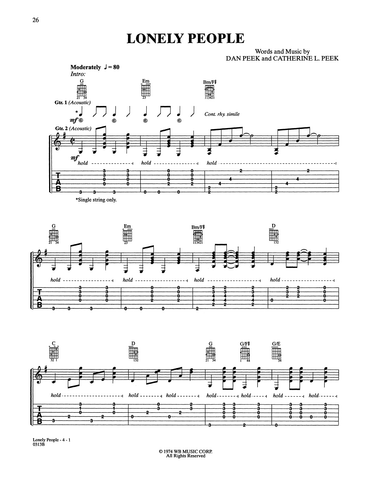 America 'Lonely People' Sheet Music Notes, Chords   Download Printable  Piano, Vocal & Guitar Right Hand Melody   SKU 15