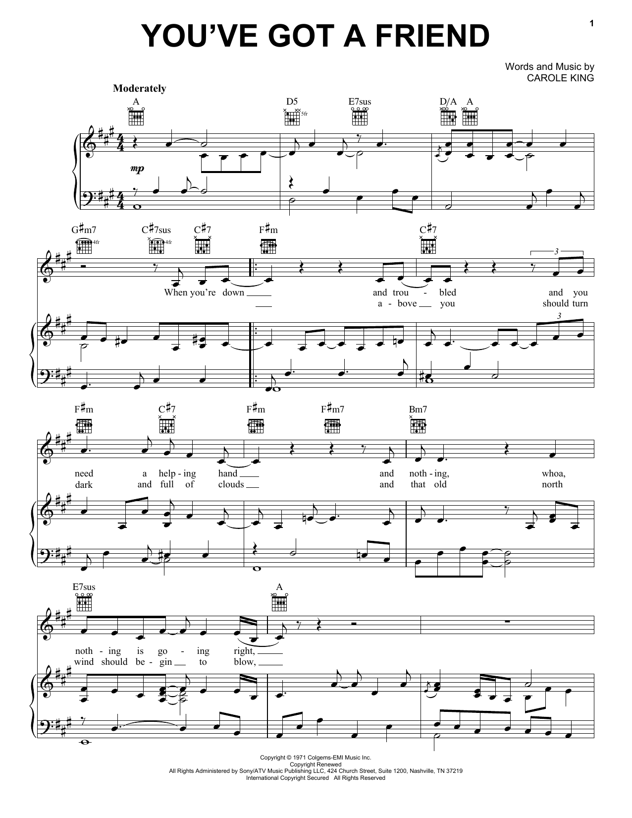 Carole King 'You've Got A Friend' Sheet Music Notes, Chords   Download  Printable Lyrics & Chords   SKU 15