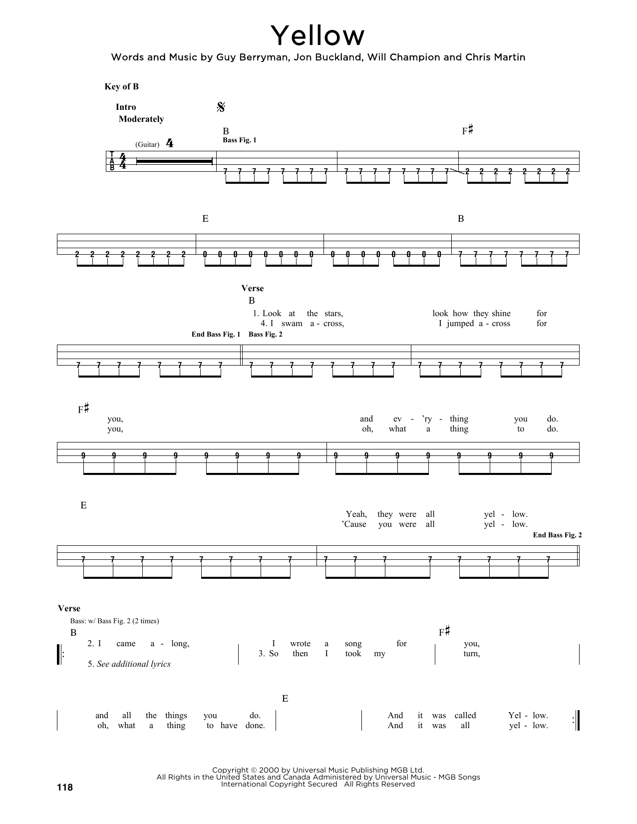 Coldplay 'Yellow' Sheet Music Notes, Chords   Download Printable Lyrics &  Chords   SKU 15