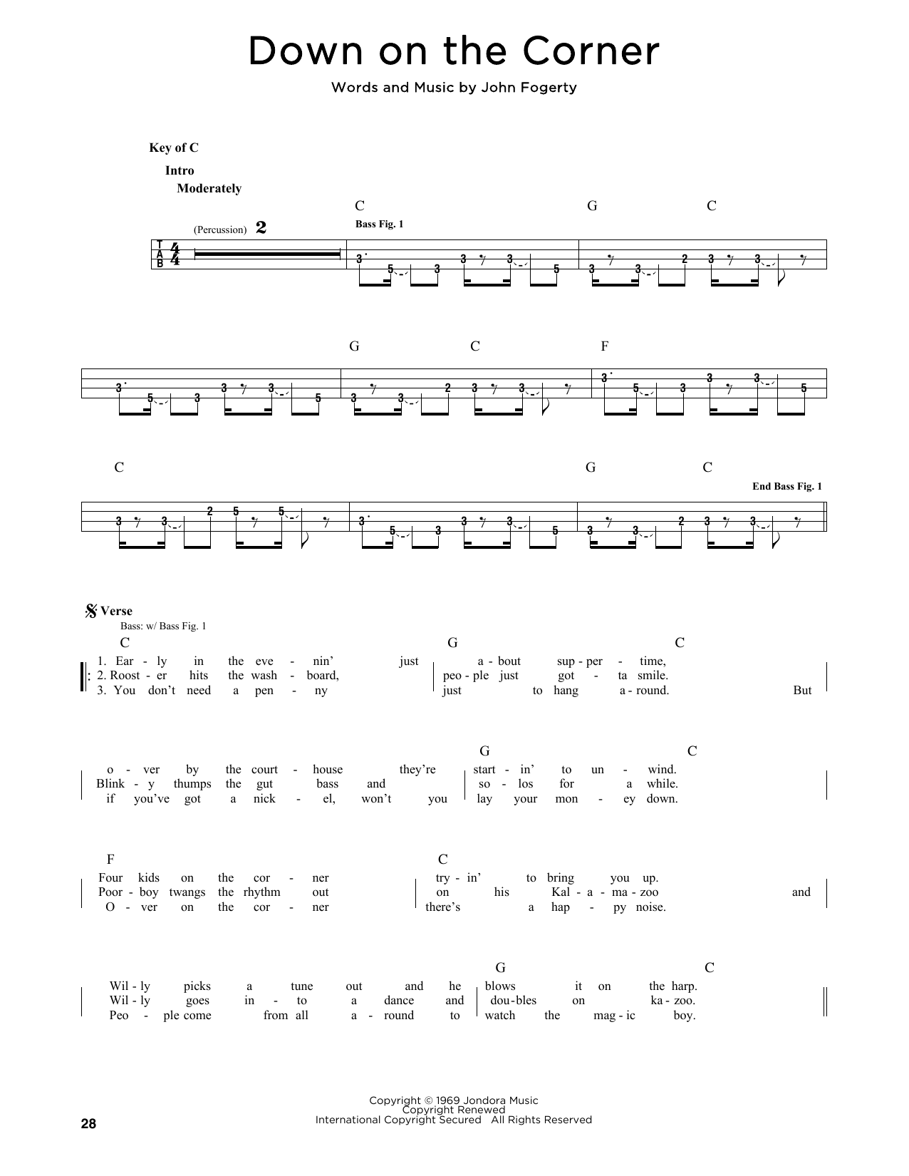 Creedence Clearwater Revival 'Down On The Corner' Sheet Music Notes, Chords    Download Printable Lyrics & Chords   SKU 15