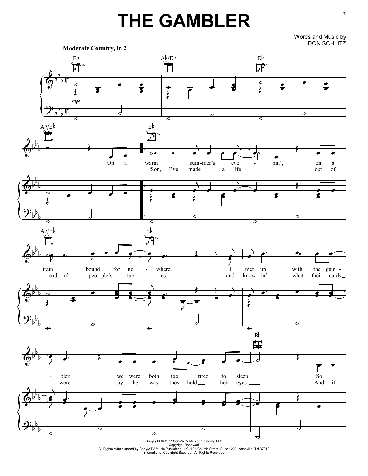 Kenny Rogers The Gambler Sheet Music, Notes & Chords