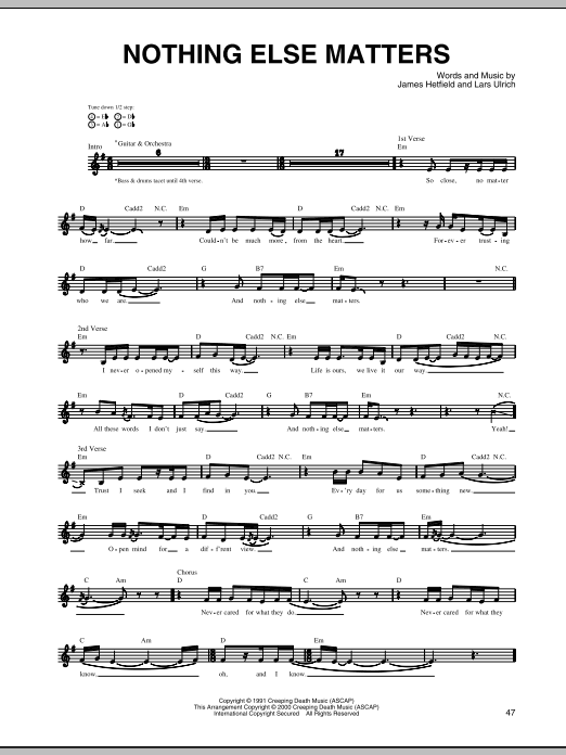 Metallica Nothing Else Matters Sheet Music Notes Chords Flute Download Rock 44220 Pdf