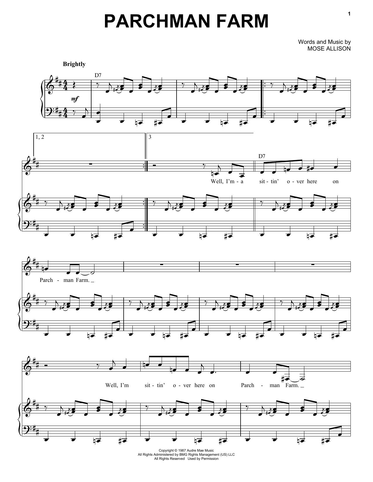 Mose Allison Parchman Farm Sheet Music Notes Chords Piano Vocal Download Jazz 159615 Pdf