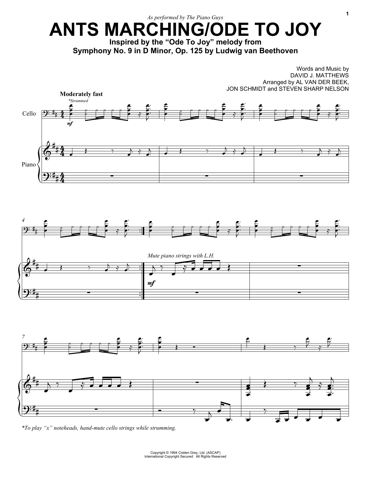 The Piano Guys Ants Marching/Ode To Joy Sheet Music, Notes & Chords