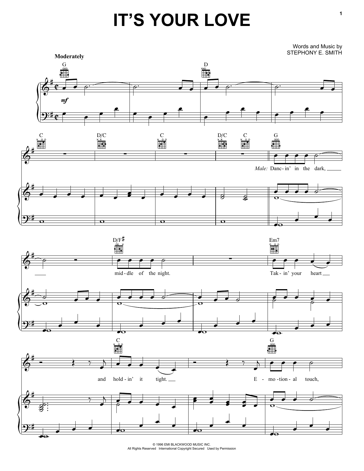 Tim McGraw with Faith Hill It's Your Love Sheet Music, Notes & Chords