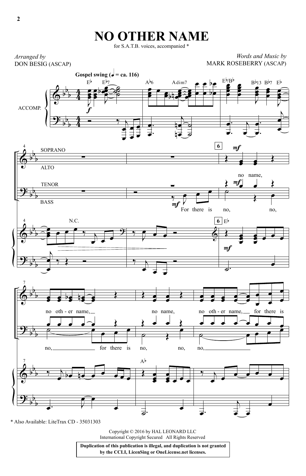 Don Besig 'No Other Name' Sheet Music Notes, Chords   Download Printable  SATB   SKU 15