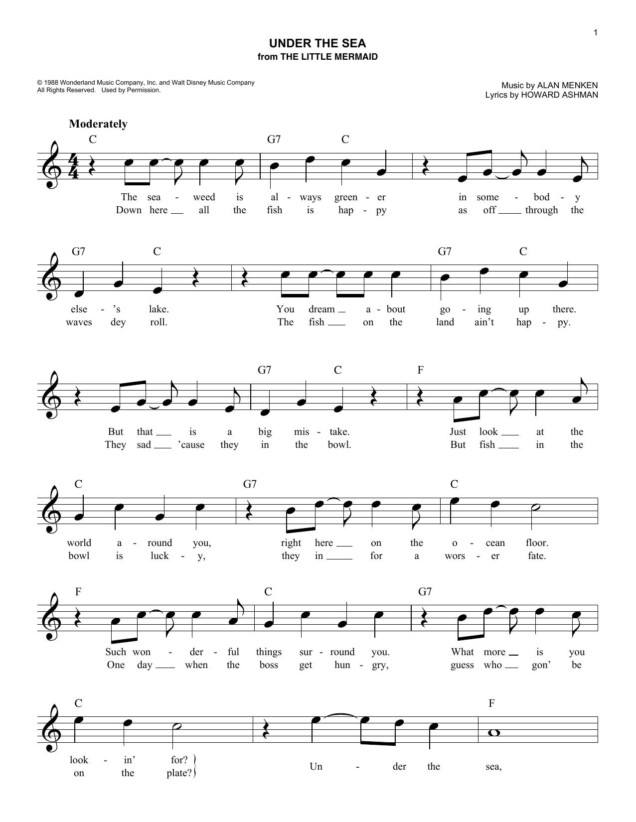 Howard Ashman 'Under The Sea' Sheet Music Notes, Chords   Download  Printable SPREP   SKU 15