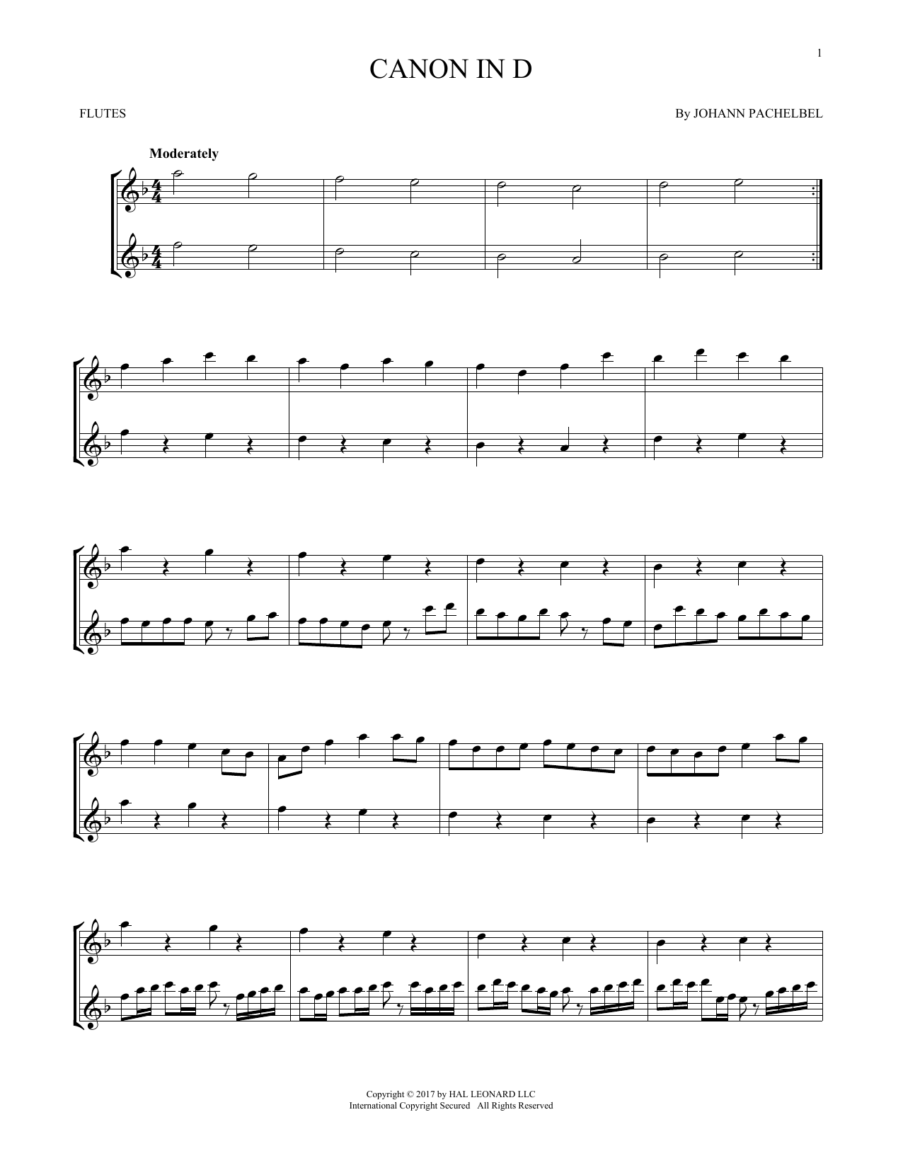Johann Pachelbel Canon In D Sheet Music Notes Chords Piano Download Classical 21579 Pdf