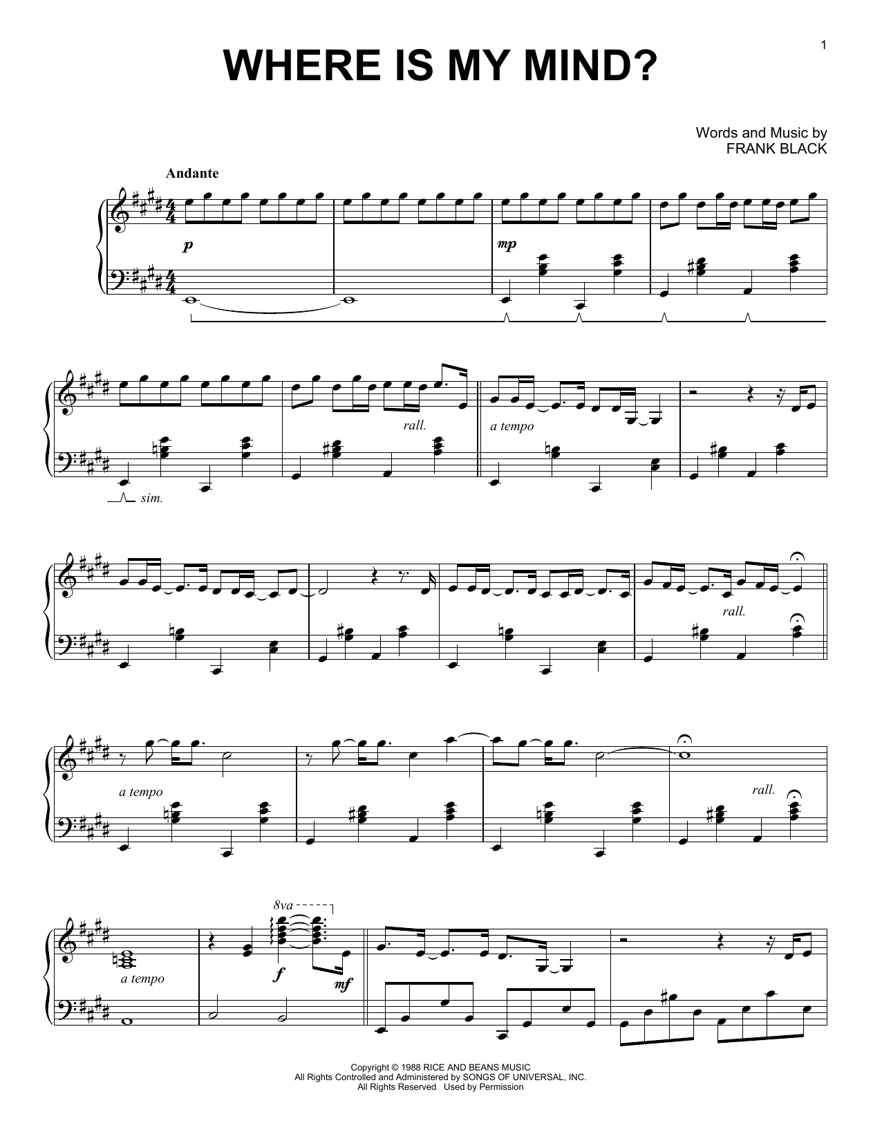 The Pixies 'Where Is My Mind' Sheet Music Notes, Chords   Download  Printable Piano   SKU 15