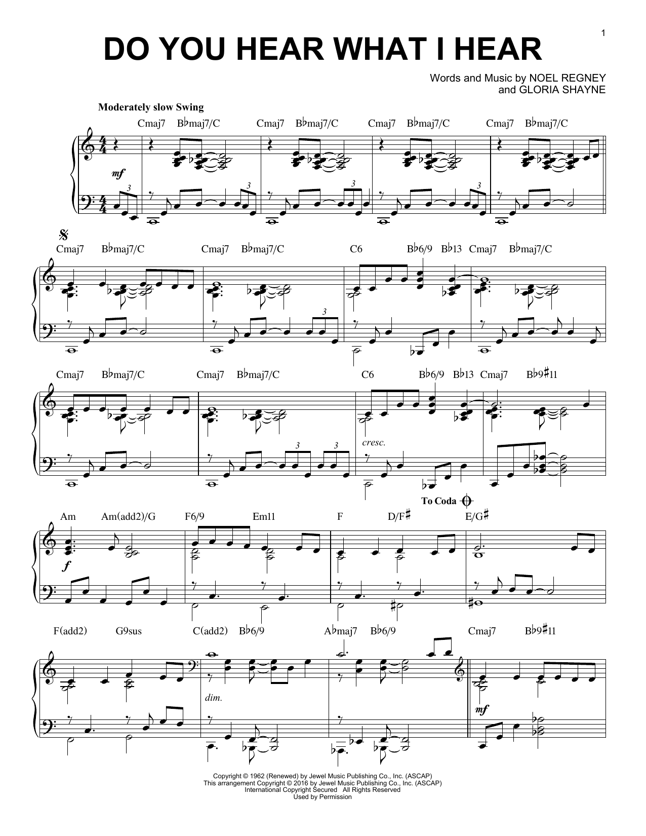 Noel Regney 'Do You Hear What I Hear' Sheet Music Notes, Chords   Download  Printable Piano   SKU 15