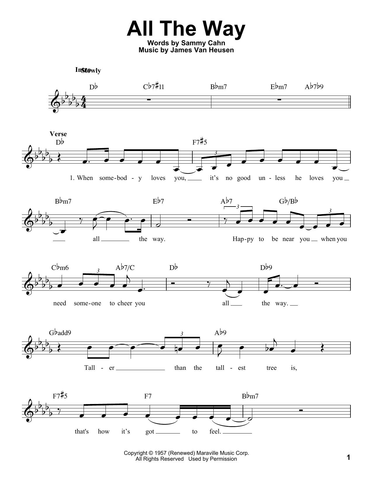 Sammy Cahn 'All The Way' Sheet Music Notes, Chords   Download Printable  Piano   SKU 15