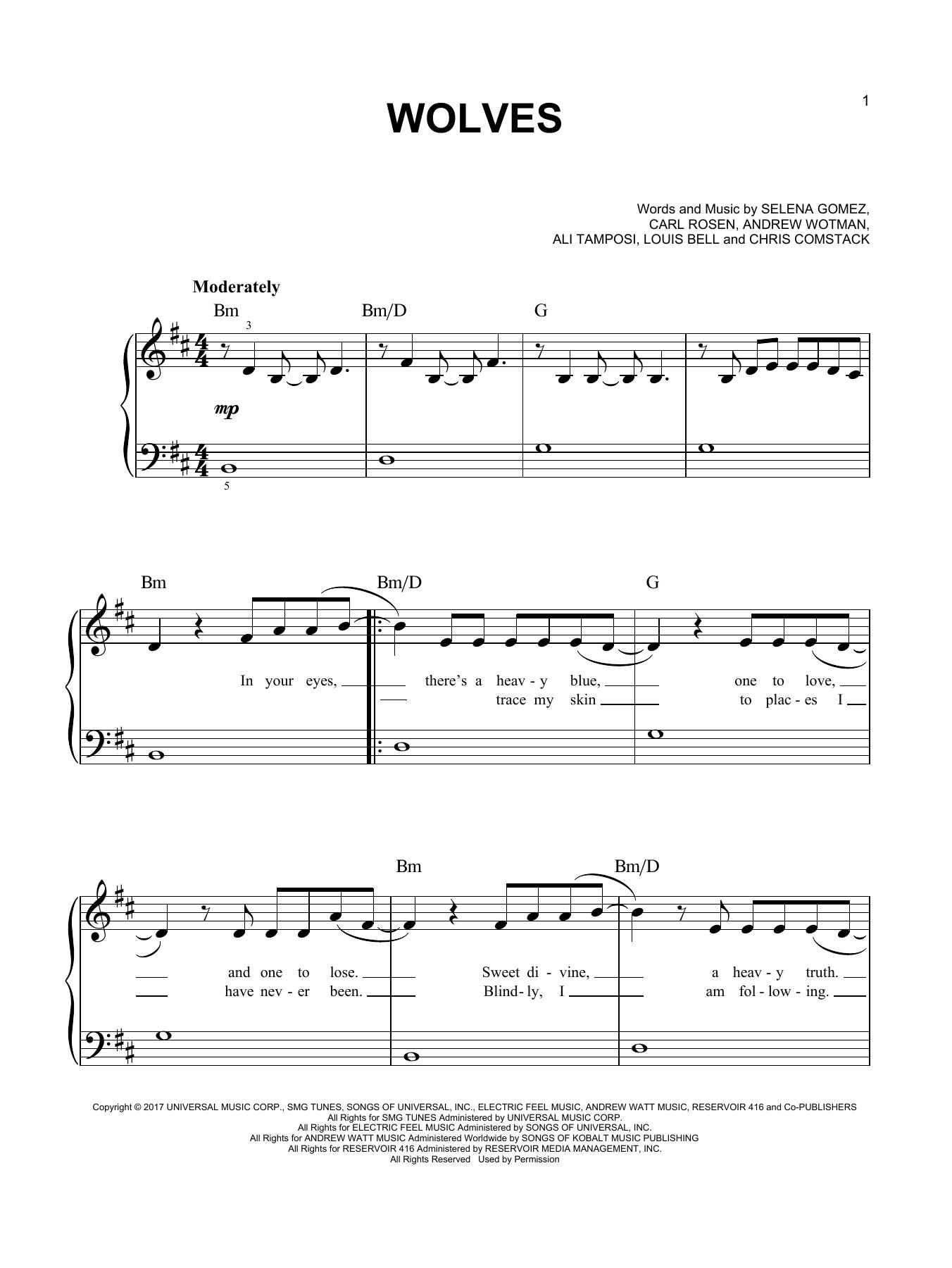 Selena Gomez & Marshmello 'Wolves' Sheet Music Notes, Chords   Download  Printable Piano, Vocal & Guitar Right Hand Melody   SKU 15