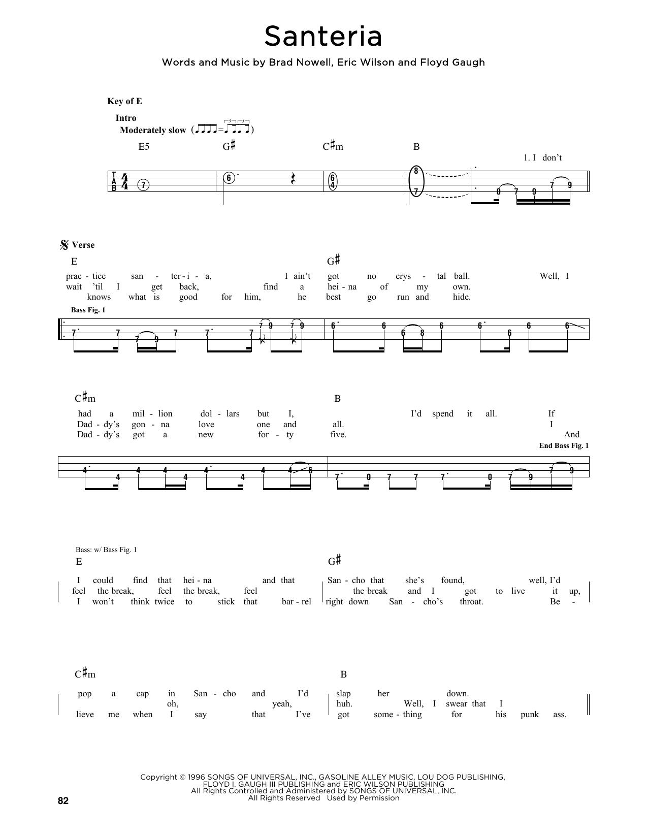 Sublime 'Santeria' Sheet Music Notes, Chords   Download Printable Easy  Guitar Tab   SKU 15