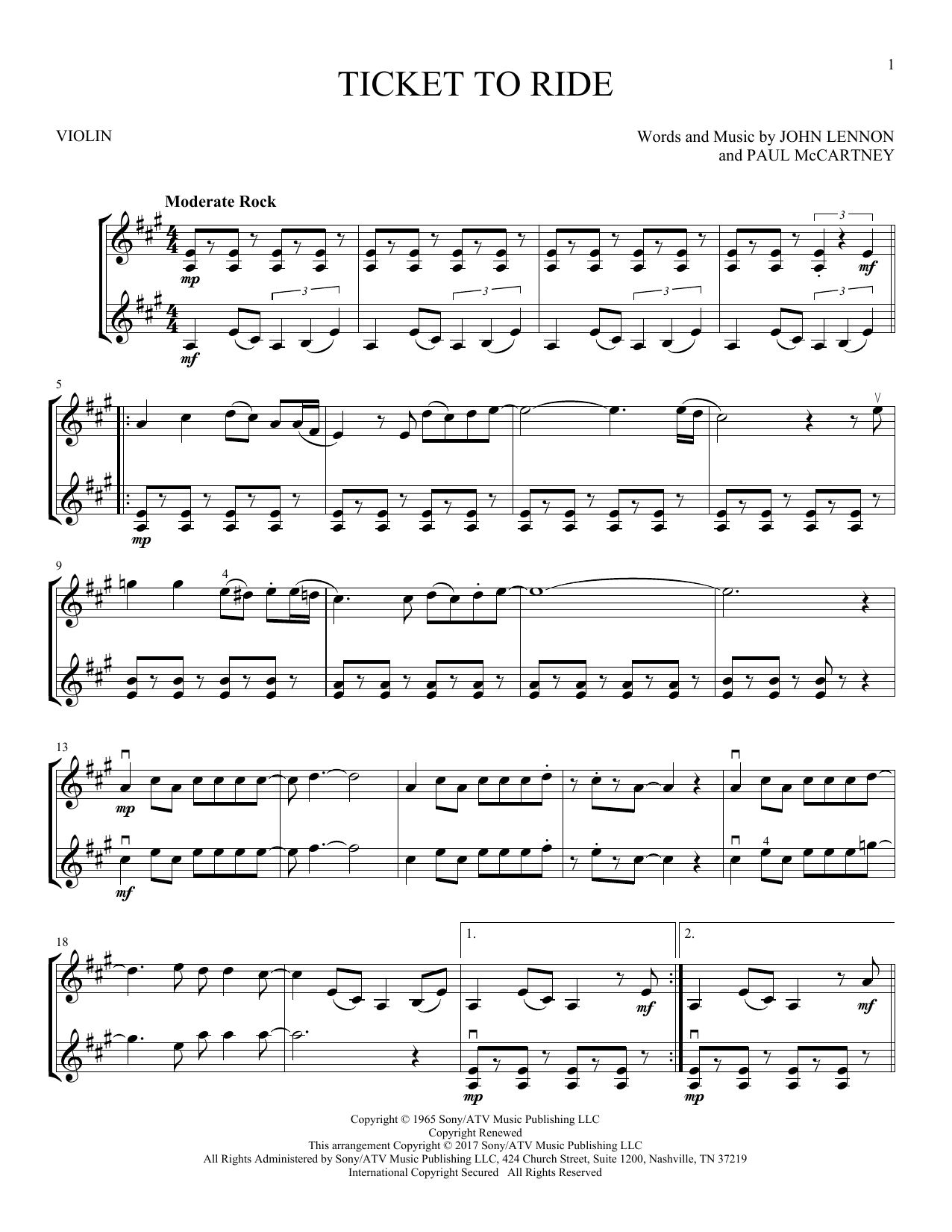 The Beatles 'Ticket To Ride' Sheet Music Notes, Chords   Download Printable  Guitar Tab   SKU 15