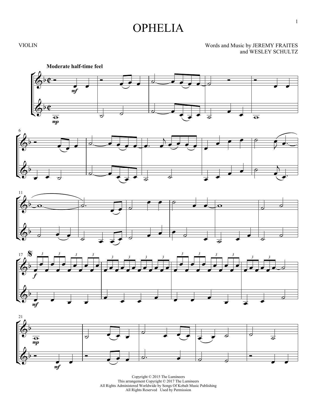 The Lumineers 'Ophelia' Sheet Music Notes, Chords   Download Printable  Piano, Vocal & Guitar Right Hand Melody   SKU 15