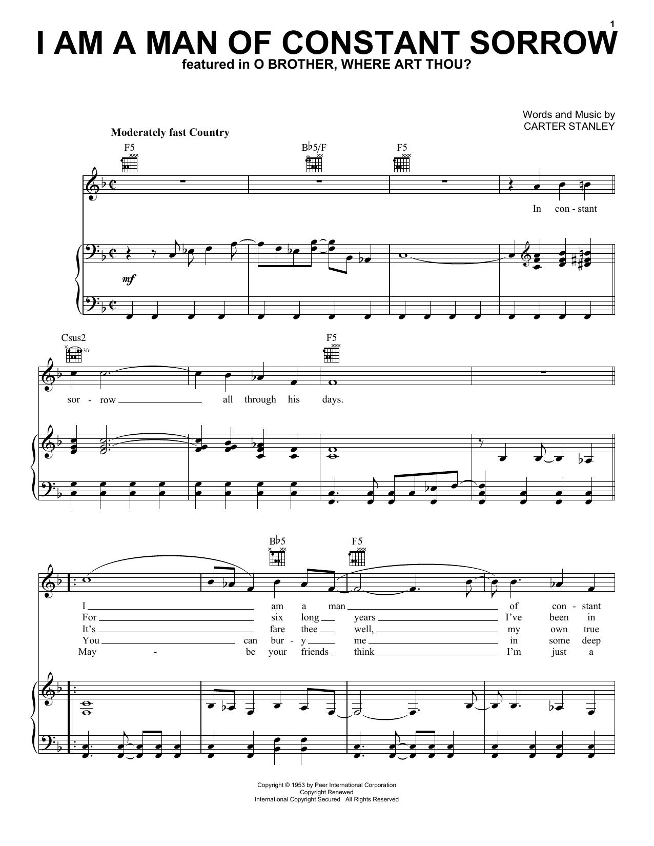 The Soggy Bottom Boys 'I Am A Man Of Constant Sorrow' Sheet Music Notes,  Chords   Download Printable Lyrics & Chords   SKU 15